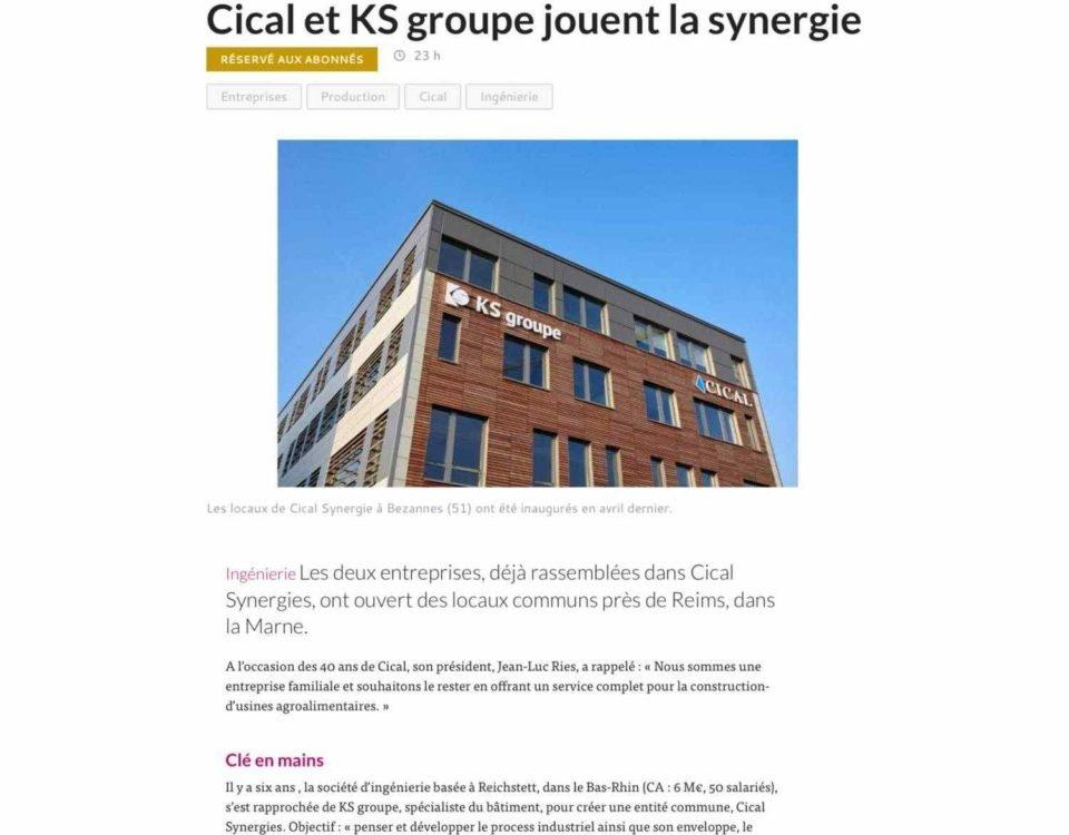 article Cical et KS groupe