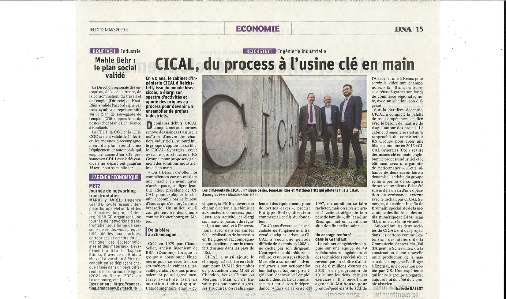 article sur CICAL